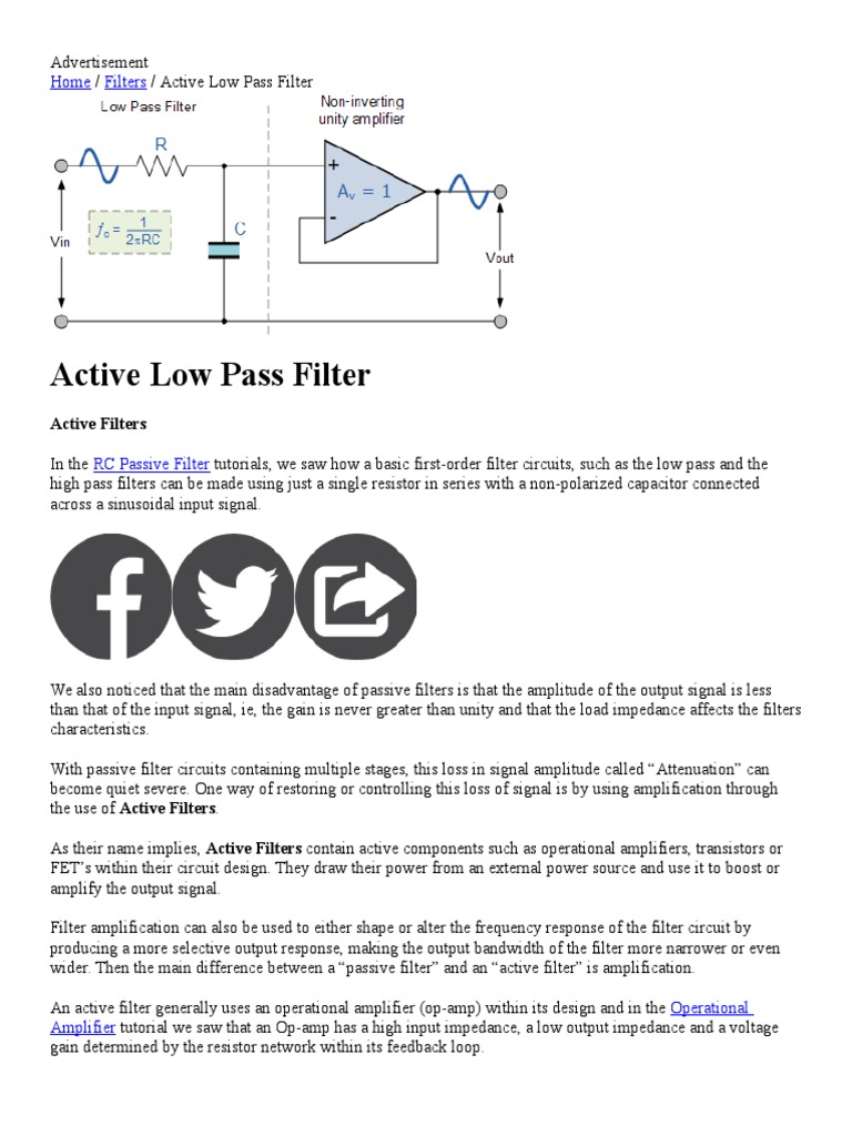 Emg Filters Operational Amplifier Active And Passive