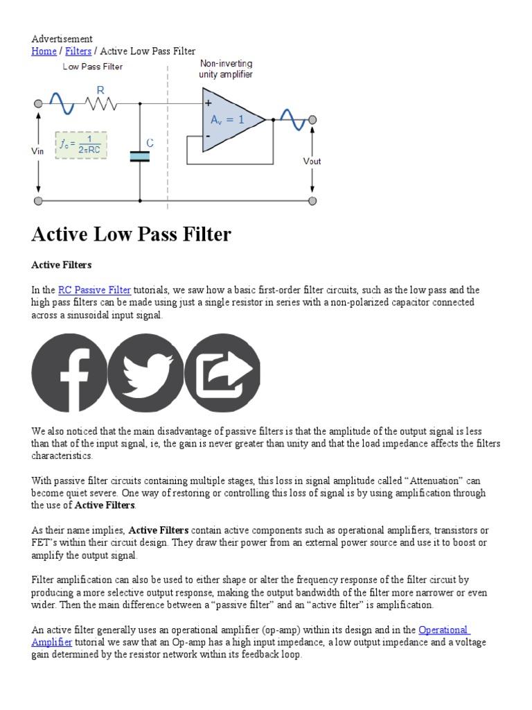 Emg Filters Operational Amplifier High Pass Filter Circuit Diagram
