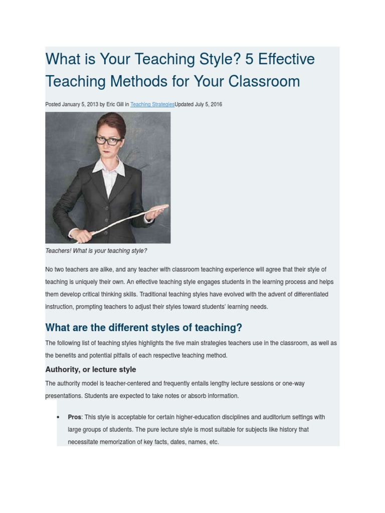 What is Your Teaching Style   Learning Styles   Teaching Method
