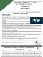 Caderno de Prova - Cargo 404 - QUIMICO