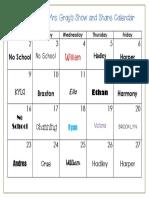 January 2017 Show and Share Calendar
