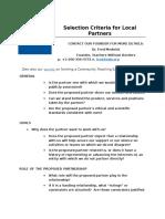 Partnership Criteria Survey CTLCs