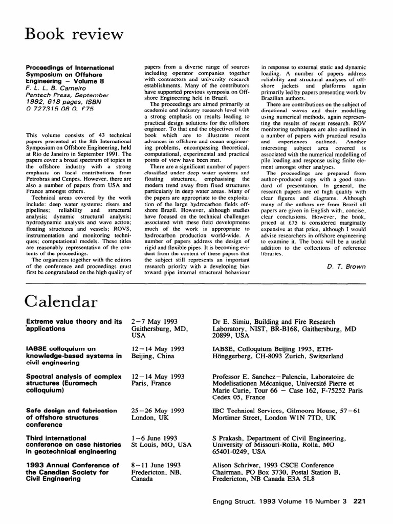 Calendar 1993 Structural Analysis Science And Technology