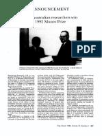Two Australian Researchers Win 1992 Munro Prize 1993