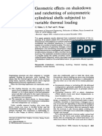Geometric Effects on Shakedown and Ratchetting of Axisymmetric Cylindrical Shells Subjected to Variable Thermal Loadin