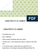 characteristics of a memoir