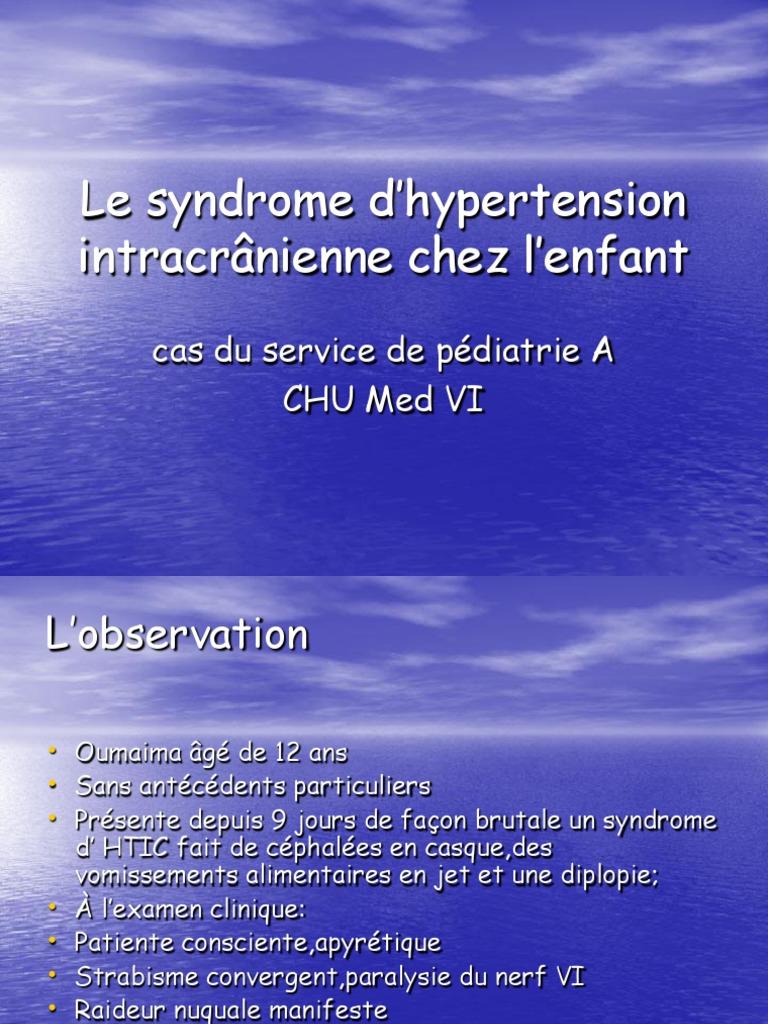 Le Syndrome d Hypertension Intracranienne Chez l Enfant..