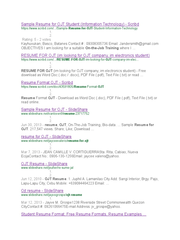 sample resume for ojt student