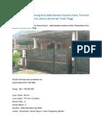Jual Rumah di Kota Tangerang Dekat Bandara Soekarno Hatta Jakarta