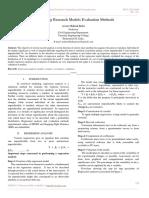 Engineering Research Models Evaluation Methods
