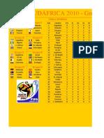 Fixture Mundial de Fútbol Sudáfrica 2010