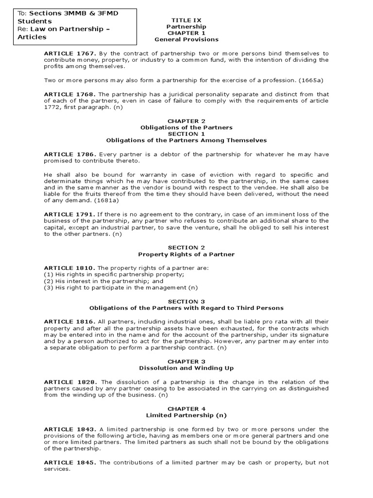 Law On Partnership Partnership Limited Partnership