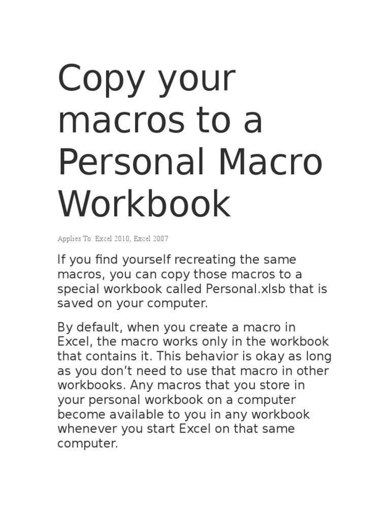 Workbooks unhide personal workbook : Saving Macro | Tab (Gui) | Microsoft Excel