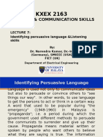 Identifying Persuasive Language and Listening Skills