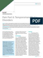 Dent Update 2016. Pain Part 6. Temporomandibular Disorders