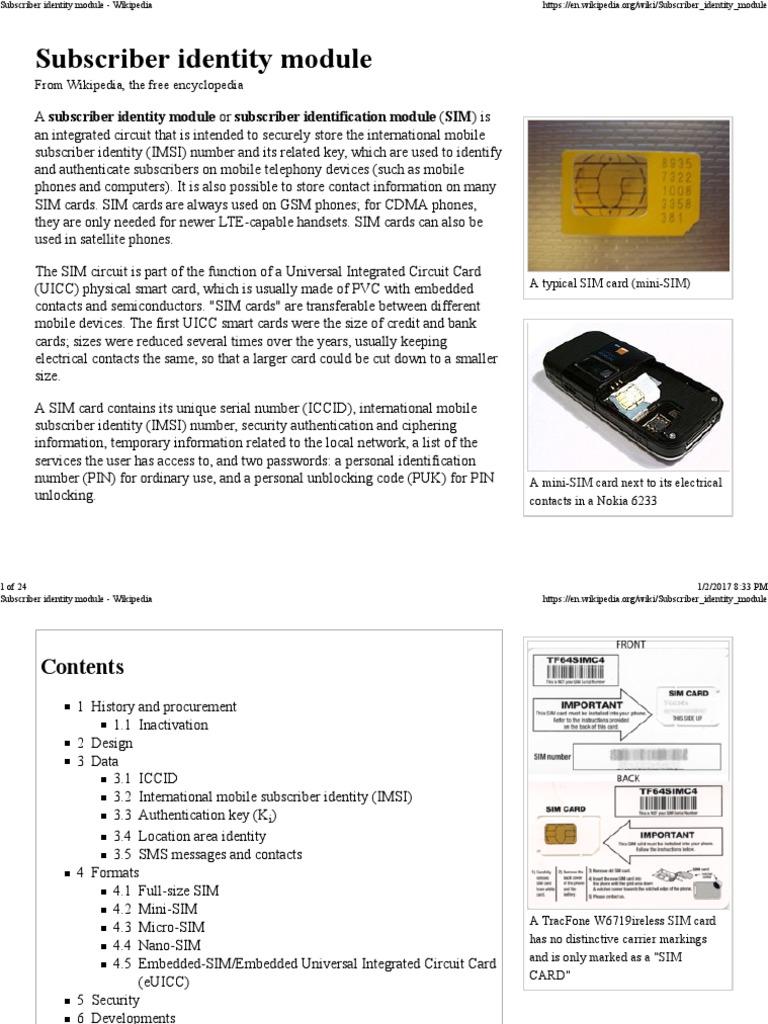 Subscriber Identity Module - Wikipedia | Subscriber Identity Module