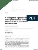 A Paisagem e o Geossistema Como Possibilidade de Leitura Da Expressão Do Espaço Sócio-Ambiental Rural