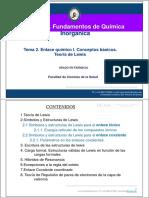 Tema 2. Enlace Químico I. Conceptos Basicos. Teoría de Lewis