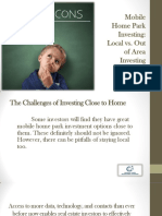 Mobile Home Park Investing Local vs. Out of Area Investing