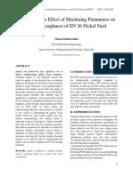 Analysis of the Effect of Machining Parameters on Surface Roughness of en 36 Nickel Steel