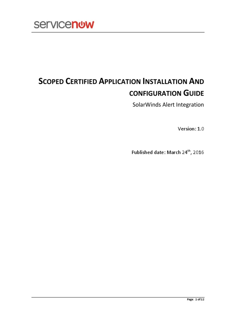 Solarwinds Alert Integration Application Software Installation