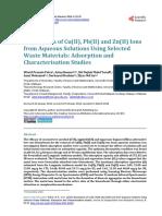 Biosorption of Cu(II), Pb(II) and Zn(II) Ions