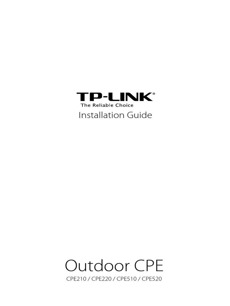 Cpe210 V1 Qigpdf Wireless Access Point Customer Premises Equipment Tplink Pharos