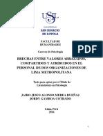 2016 Merea Brechas Entre Valores Abrazados, Compartidos y Atribuidos en El Personal de Dos Organizaciones de Lima Metropolitana