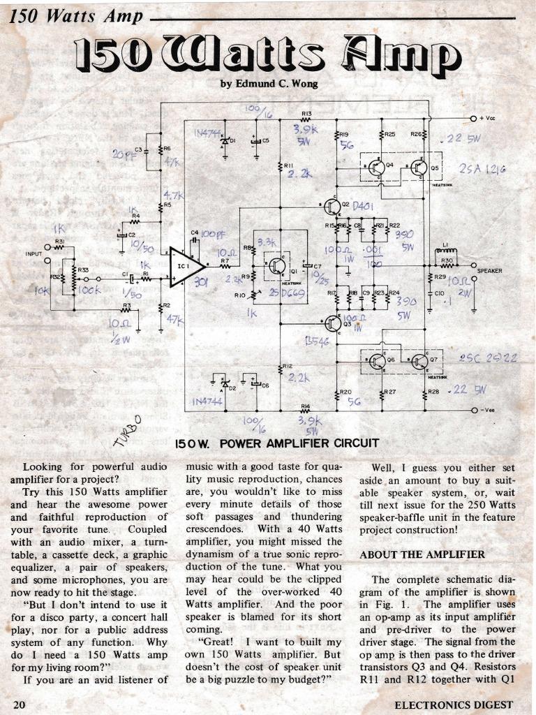 150w Amp Amplifier Operational 20 Watt Power Circuit