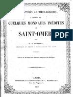 Observations archéologiques à propos de quelques monnaies inédites de Saint-Omer / par C.A. Serrure