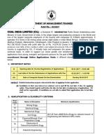 Coal India Recruitment for Management Trainees 2017