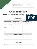 Plan de Contingencia Trabajos en Zanjas y Buzones