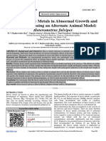 Study of Heavy Metals in Abnormal Growth and Development using an Alternate Animal Model
