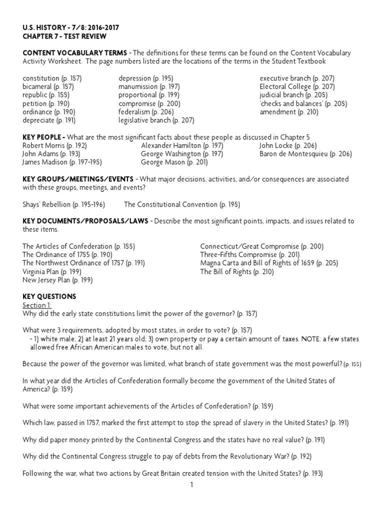 Chapter 7 Test Review 2016 2017 – Shays Rebellion Worksheet