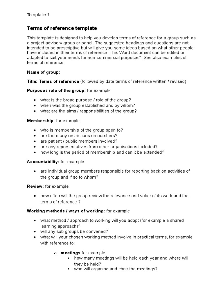 terms of reference template 13 docx copyright intellectual works