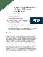 Extracción y Caracterización de Pectina de Las Cáscaras de Cacao