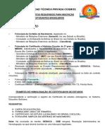 Documentos Requeridos Para Inscrição