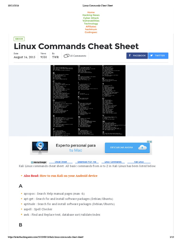 Linux Commands Cheat Sheet | Computer File | File Transfer