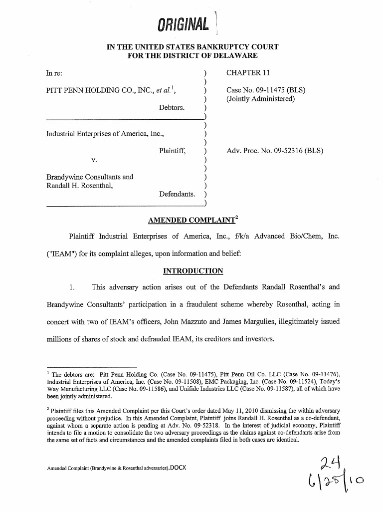 Industrial Enterprises Of America Ieam Amended Complaint Against Wiring Instructions For Scottrade Randal Rosenthall Brandywine