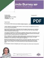 Linda Burney letter to Auditor-General Grant Hehir