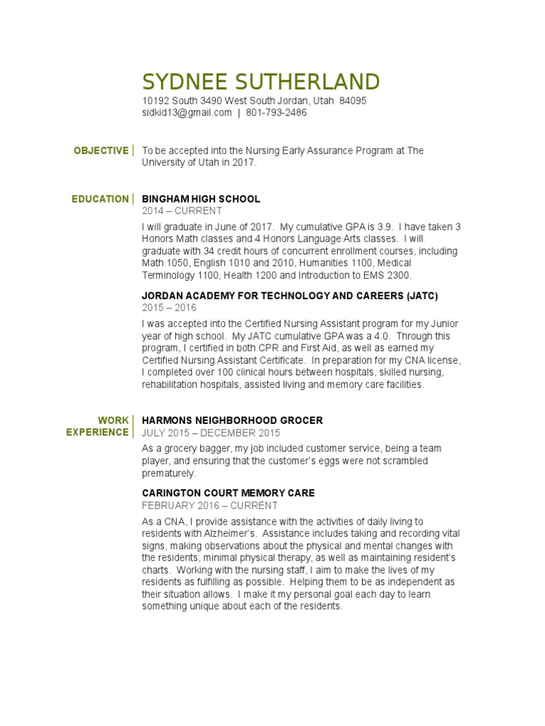 Resume help objective section