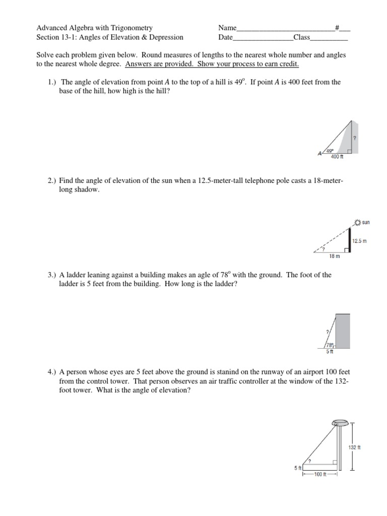 Worksheets Angle Of Elevation And Depression Worksheet angles of elevation depression worksheet