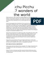 Machu Picchu New 7 Wonders of the World