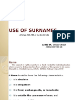 Use of Surname