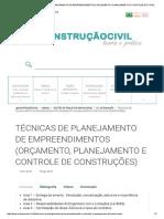 @Construçãociviltécnicas de Planejamento de Empreendimentos (Orçamento, Planejamento e Controle de Construções) - @Construçãocivil