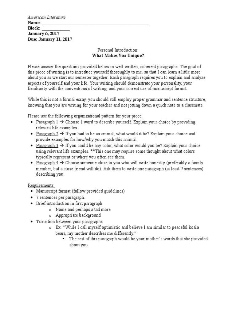 personal introduction essay 1 1