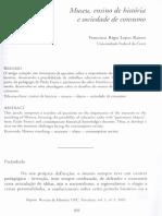 Museu, Ensino de História e Sociedade de Consumo. Francisco Regis Lopes Ramos