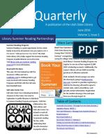Utah State Library Quarterly Newsletter 2016 June