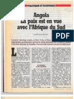Angola, la paix est en vue avec l'Afrique du Sud