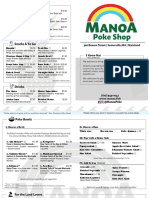 Manoa Poke Shop Opening Menu